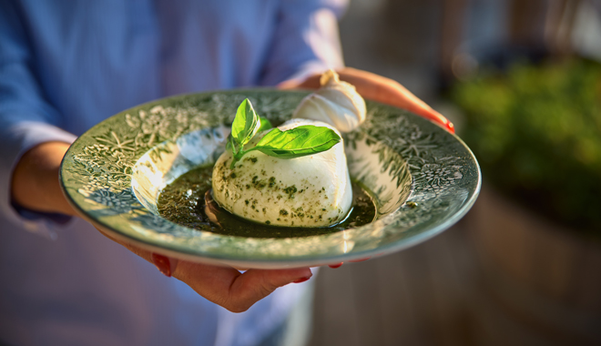 Burrata being served in Puglia
