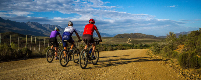 Three cyclists cycling the Cape in South Africa