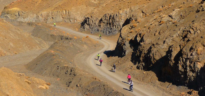 Cycling group in the High Atlas Mountains