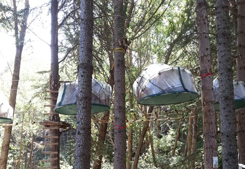 Tree tents on our Family Sicily Multi-Activity Adventure