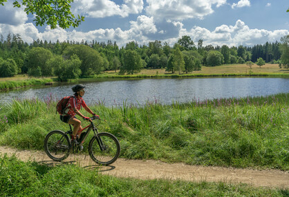Woman riding an e-bike beside a lake