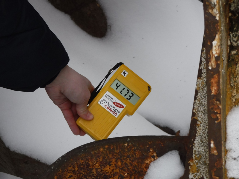 Chernobyl Radiation Reading at the Abandoned Crane Claw