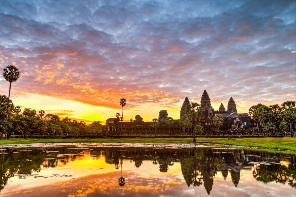 walking with elephants angkor wat sunrise