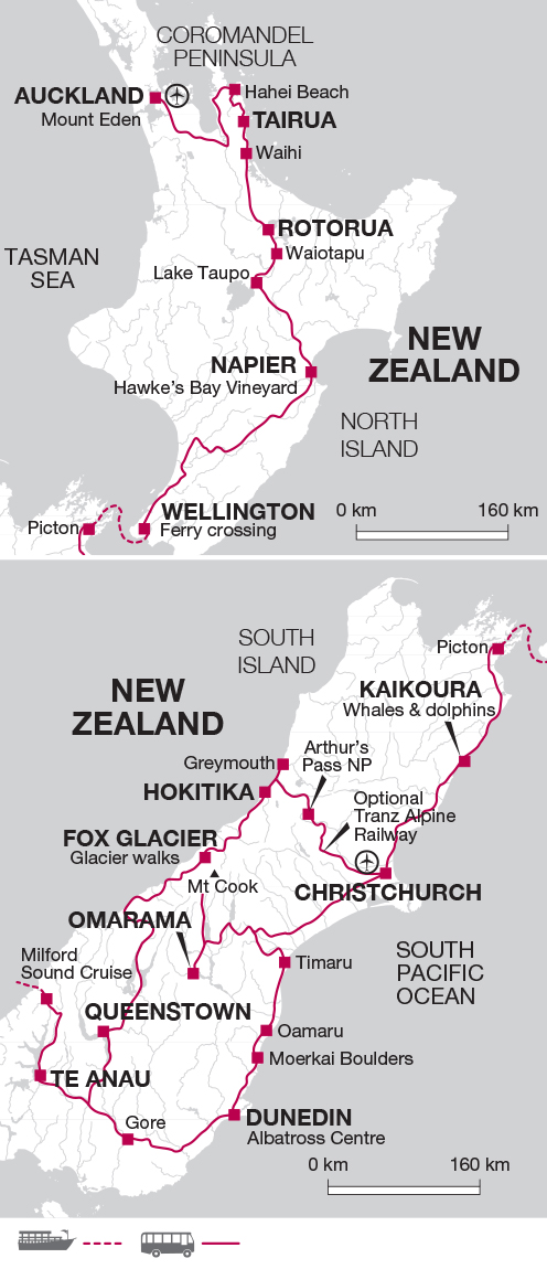 Itinerary map until March 2019