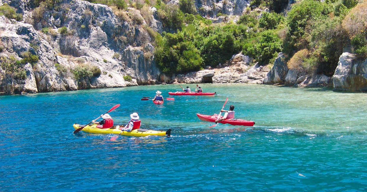 Sea kayaking over sunken ruins