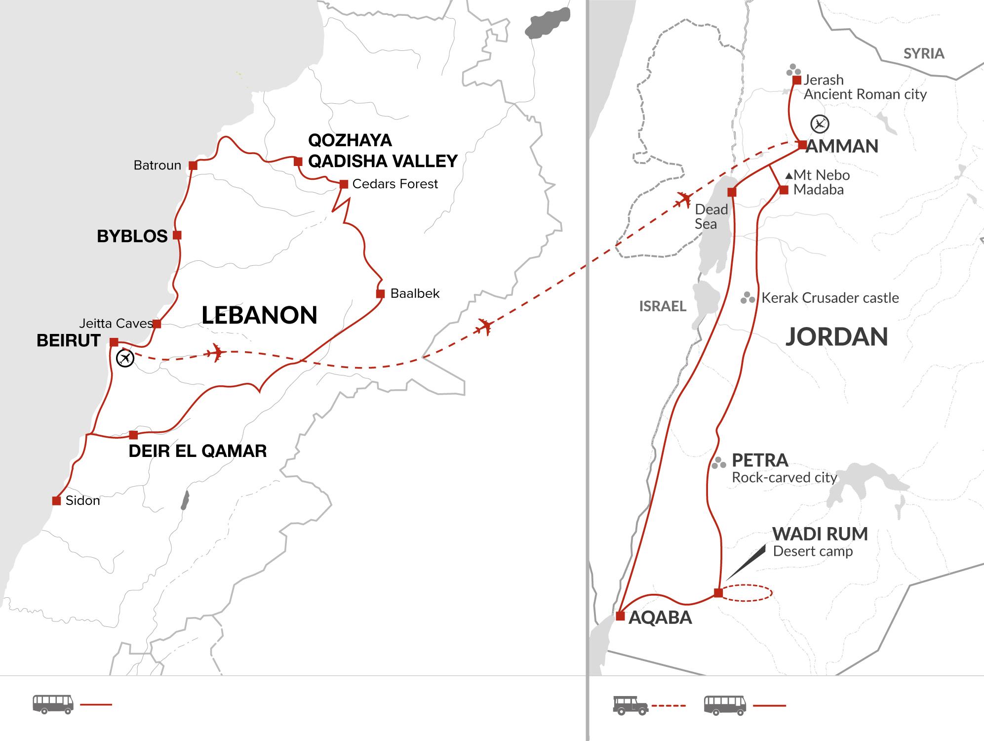 Highlights of Lebanon & Jordan (Summer itinerary)