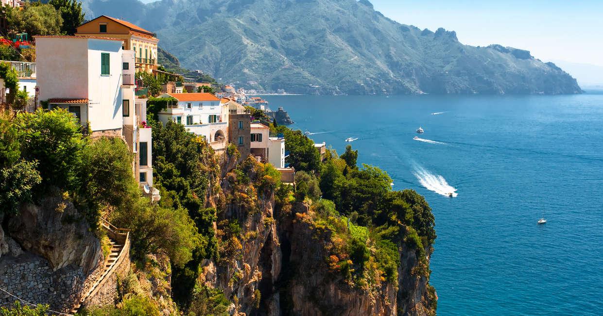 View of the Amalfi Coast of Tyrrhenian Sea