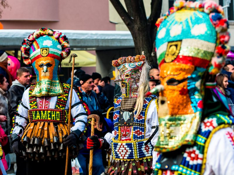 Colourful masks at the Surva Festival Bulgaria