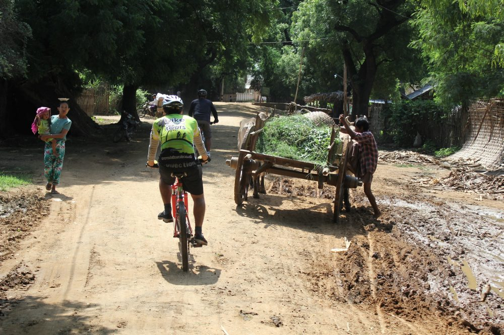 Cyclist negotiates rickshaw