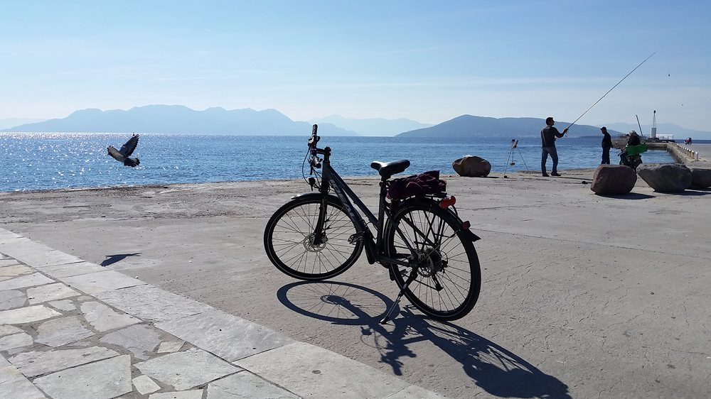 Getting ready to cycle at Aegina port