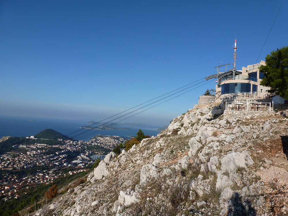 A view of the cable car in Dubrovnik