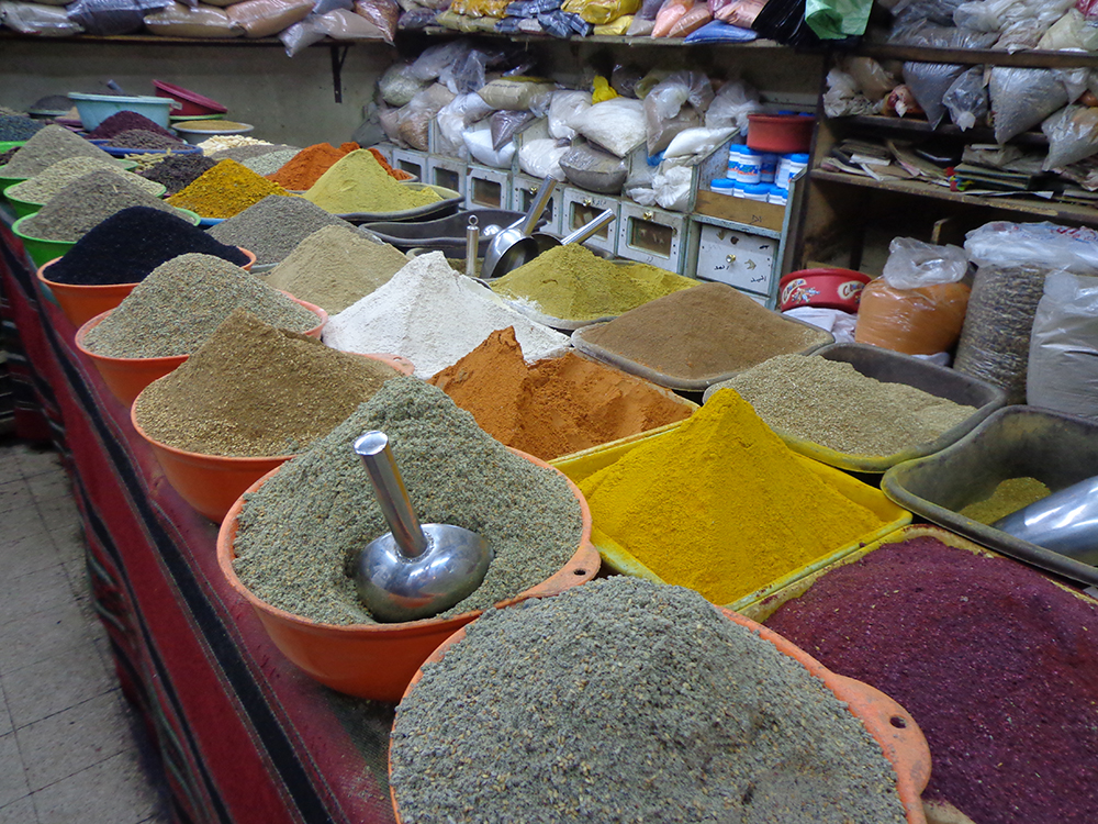 Amazing range of spices in Aqaba market