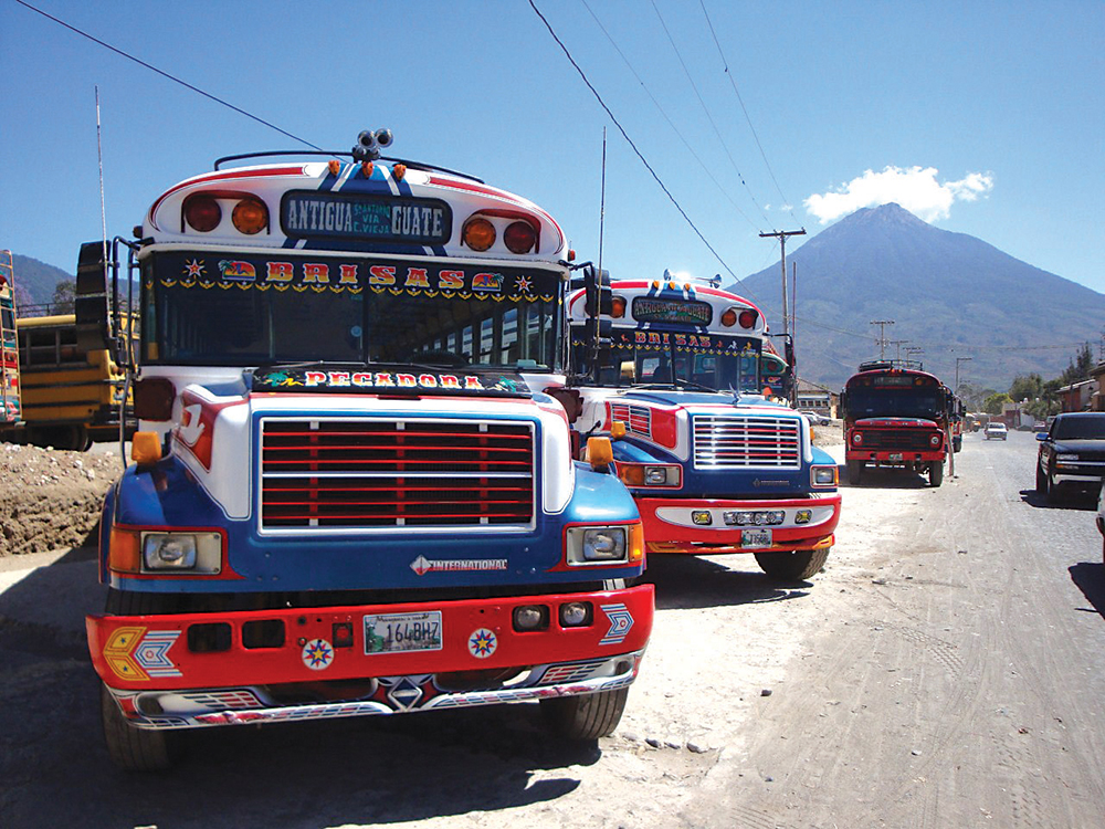 Colourful buses in Antigua