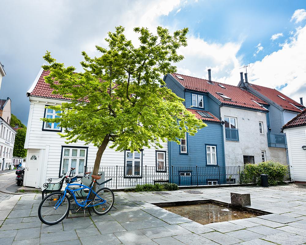 Colourful street in Bergen