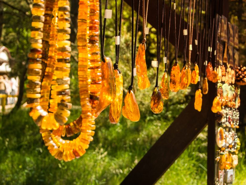 Amber pendants for sale on the Curonian Spit