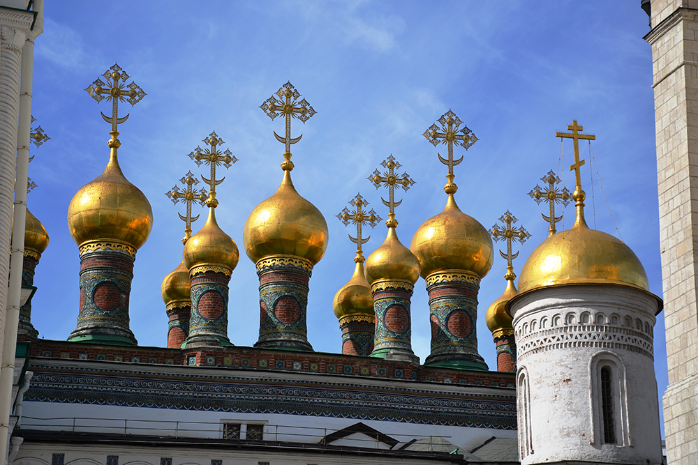 Admiring the splendid rooftops in Moscow