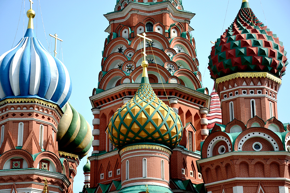Admire the colourful spires of Saint Basil's Cathedral