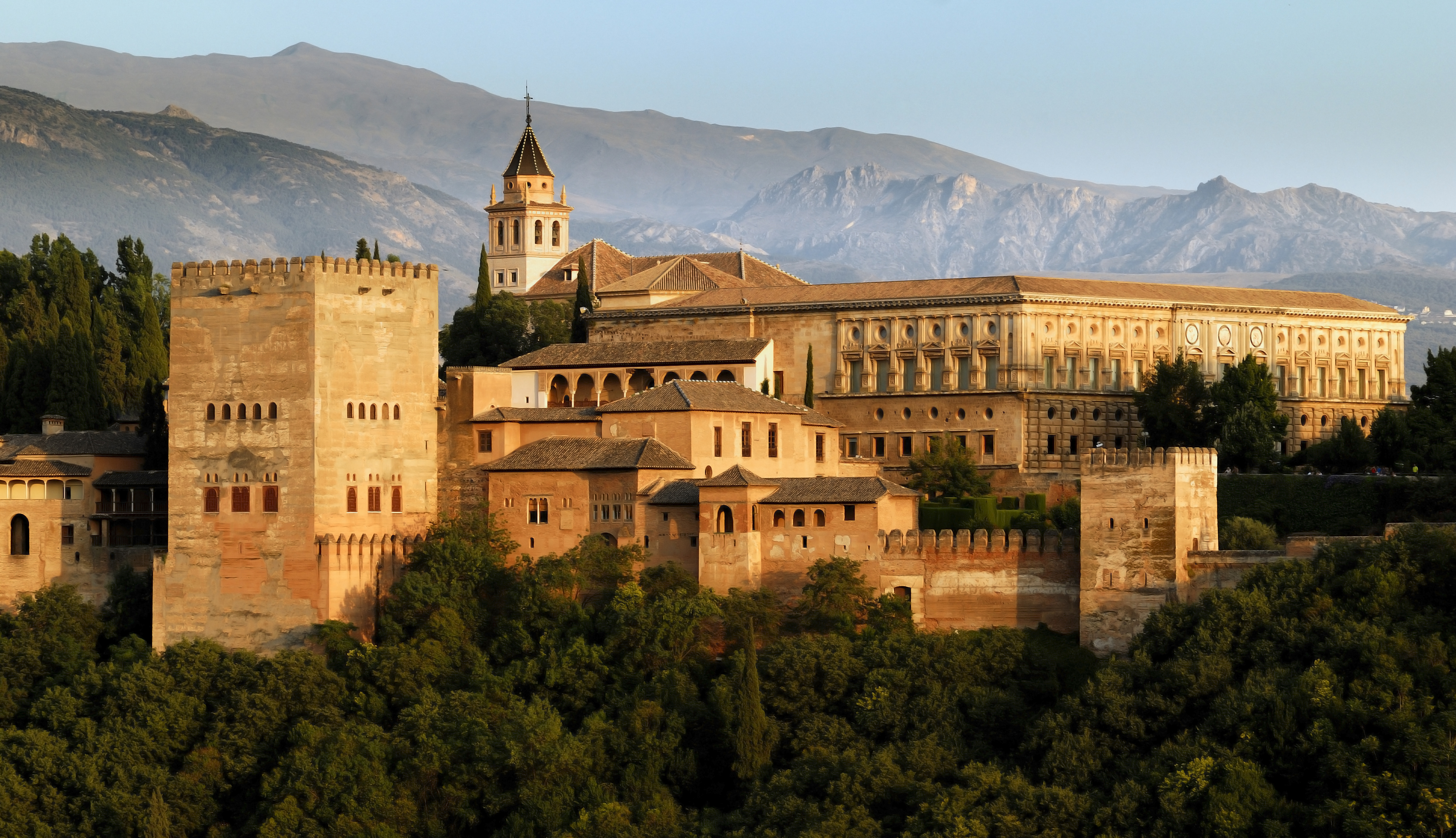 View on Alhambra at sunset, Granada