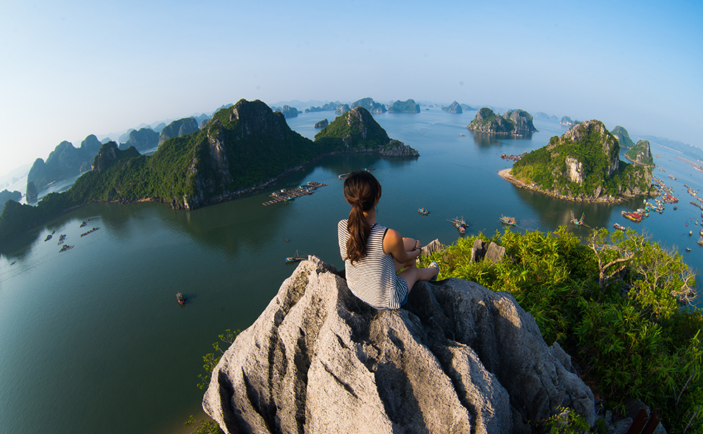 Enjoying the view at Ha Long Bay